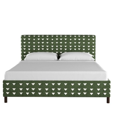 Upholstered Platform Bed in Triangle Dark Green - Project 62™