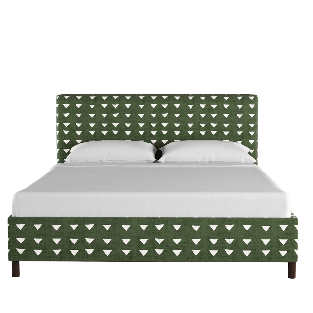 Twin Upholstered Platform Bed In Triangle Dark Green Project 62 8482