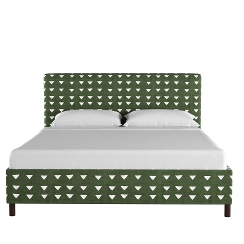 Upholstered Platform Bed in Triangle Dark Green - Project 62™ - image 1 of 5