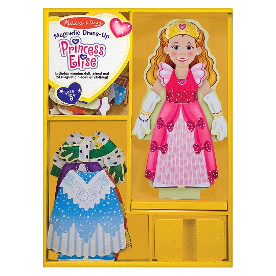 Melissa & Doug Deluxe Princess Elise Magnetic Wooden Dress-Up Doll Play Set (24pc) image number null