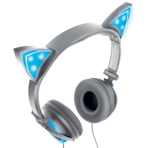 Sharper Image Led Cat Ear Headphones With Fold Blue Shp59slbl