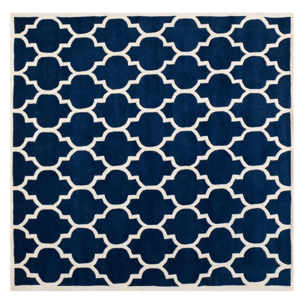 7'X7' Quatrefoil Design Tufted Square Area Rug Dark Blue/Ivory - Safavieh