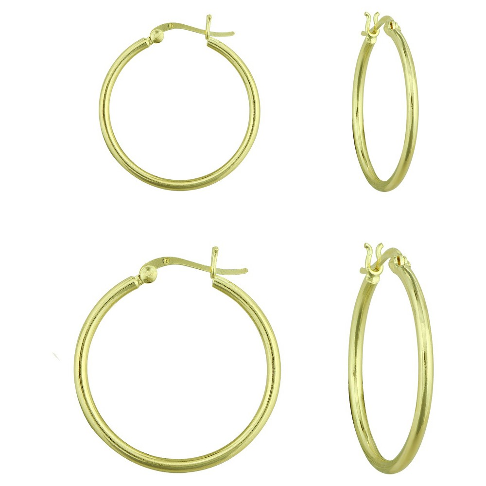 2 Piece Hoop Earrings Set - Gold