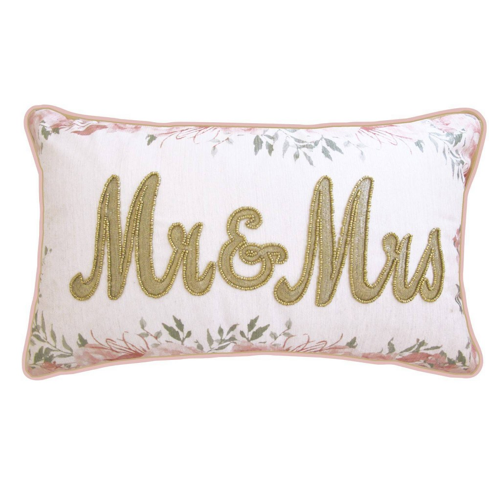"Image of ""12""""x20"""" Celebrations Floral Beaded """"Mr & Mrs"""" Lumbar Pillow Oyster/Pink - Edie@Home"""
