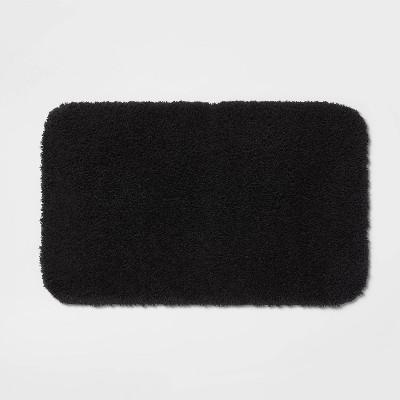 """23""""x37"""" Perfectly Soft Nylon Solid Bath Rug Black - Opalhouse™"""