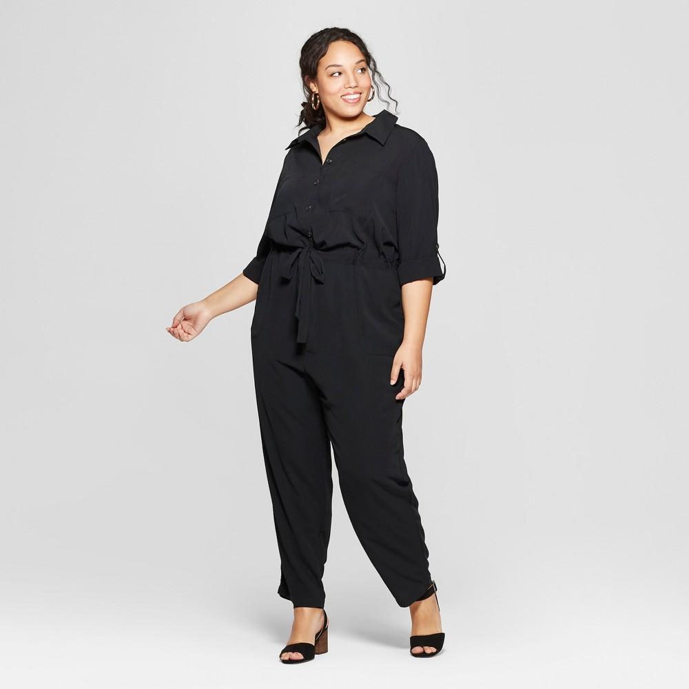 Women's Plus Size Utility Jumpsuit - Ava & Viv Black 1X