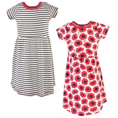 Touched by Nature Big Girls and Youth Organic Cotton Short-Sleeve Dresses 2pk, Poppy