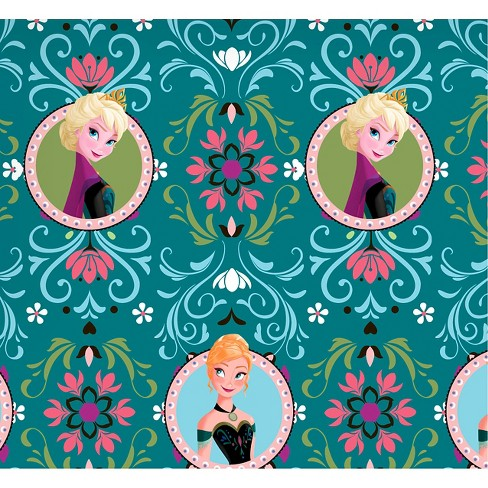 "Disney Frozen Anna & Elsa Framed, Teal, Fleece, 59/60"" Width, Fabric by the Yard - image 1 of 1"