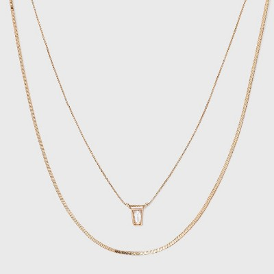 Delicate Layered Necklace - A New Day™ Gold