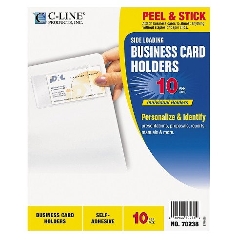 C-Line® Self-Adhesive Business Card Holders, Side Load, 3-1/2 x 2, Clear, 10/Pack - image 1 of 1