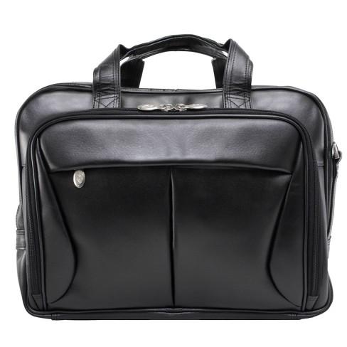 "McKlein Pearson 17"" Leather Expandable Double Compartment Laptop Briefcase (Black) - image 1 of 4"