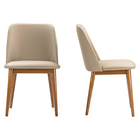 82720a09df92b Lavin Mid-Century Faux Leather Dining Chairs - Brown Walnut Beige (Set Of  2) - Baxton Studio   Target