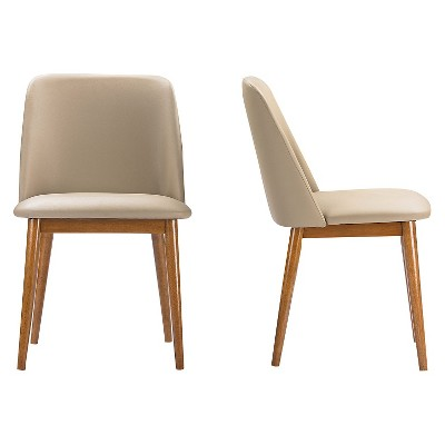 Bon Lavin Mid Century Faux Leather Dining Chairs   Brown Walnut/Beige (Set Of  2)   Baxton Studio