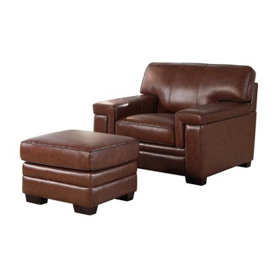 Beau Evan Top Grain Leather Chair And Ottoman Brown   Abbyson Living