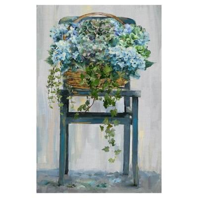 "24"" x 36"" Farmhouse Hydrangeas by Studio Arts Art on Canvas - Fine Art Canvas"