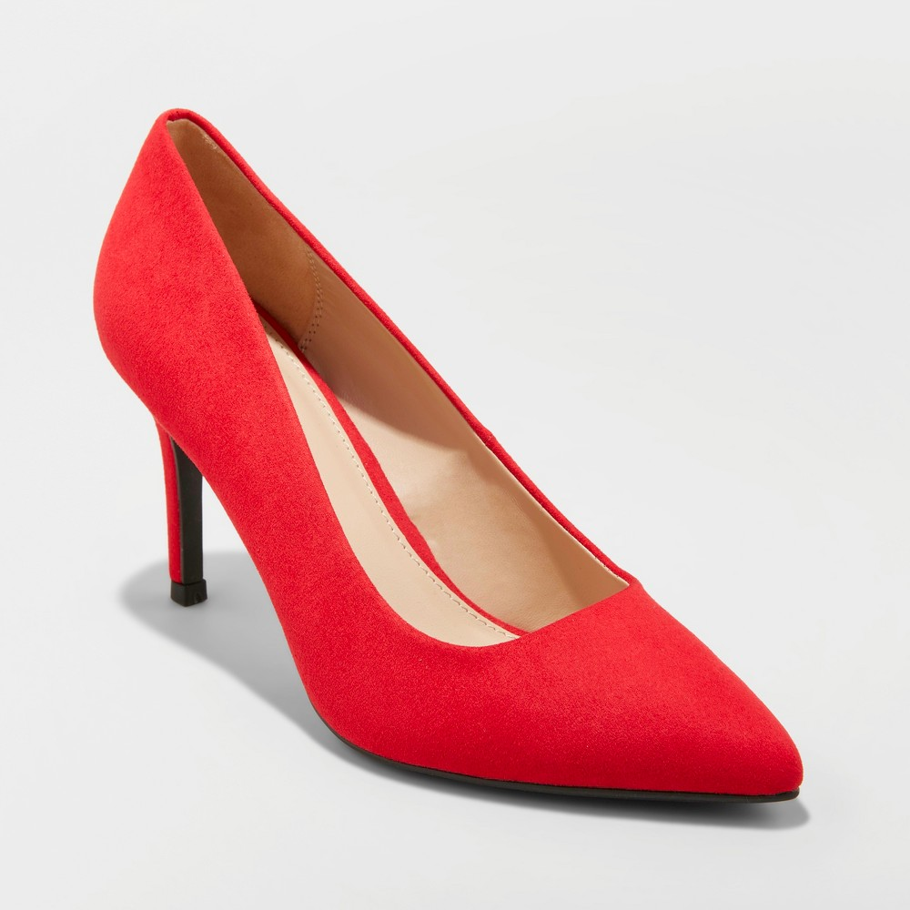 Women's Gemma Wide Width Faux Leather Pointed Toe Heeled Pumps - A New Day Red 10W, Size: 10 Wide