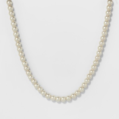 Short Pearl Necklace - A New Day™ Silver