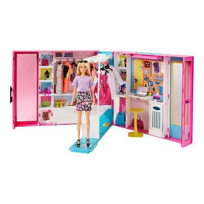 Barbie GBK10 Dream Closet Fashion Wardrobe with Blonde Barbie Doll, Full Length Mirror, Storage, and 4 Outfit Clothes, Pink