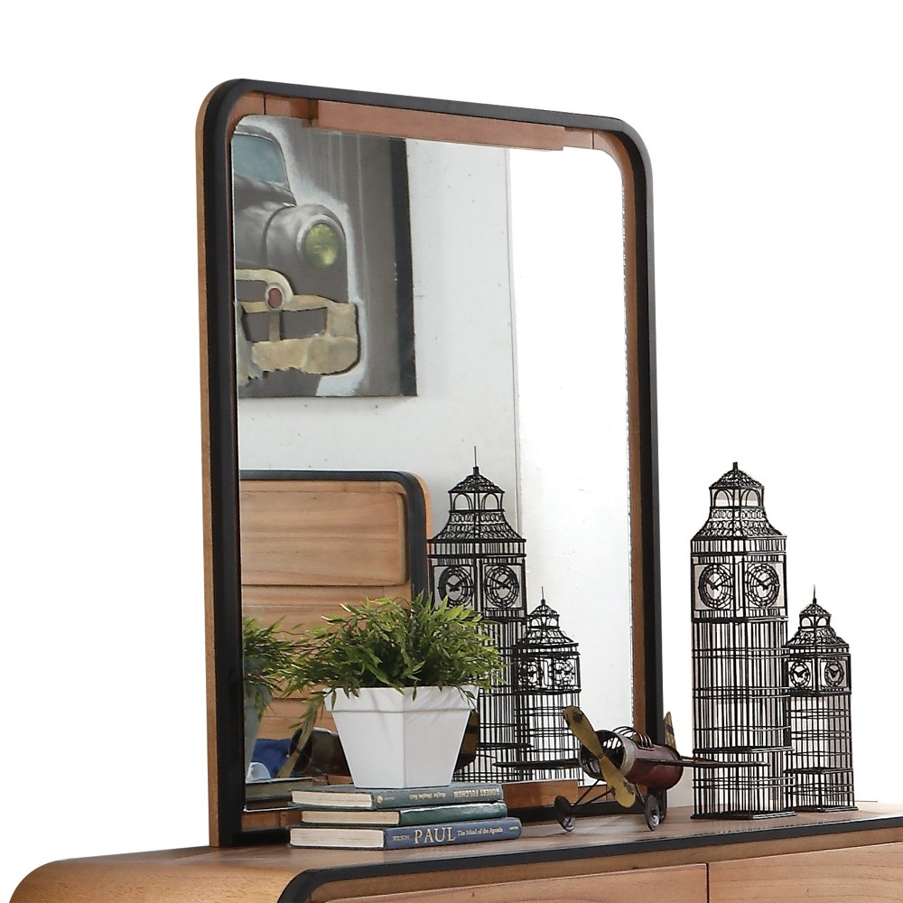 Image of Acme Furniture Carla Mirror Oak Brown/Black