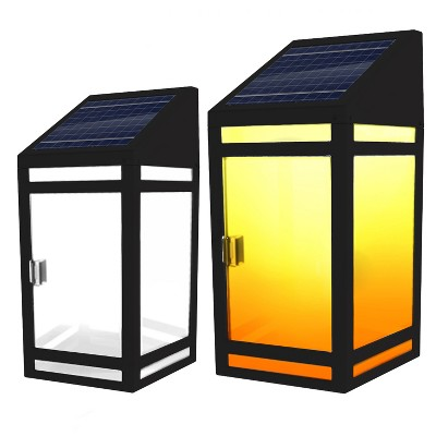 Solar LED Outdoor Wall Lanters with Frost Panel Black - Techko
