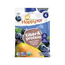 Happy Tot Fiber & Protein Pear Blueberry Spinach - 4pk