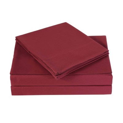 King Everyday Microfiber Solid Sheet Set Burgundy - Truly Soft