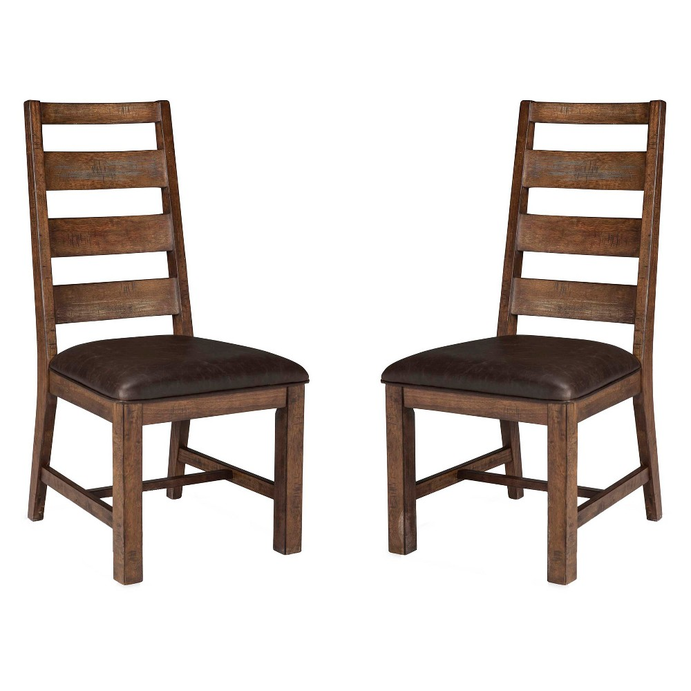 Taos Ladderback Side chair With Faux Leather seat Brown (Set of 2) - Intercon