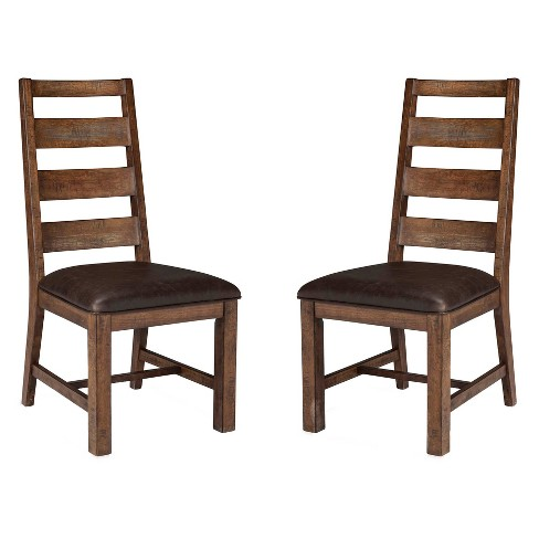 Taos Ladderback Side chair With Faux Leather seat Brown (Set of 2) - Intercon - image 1 of 1