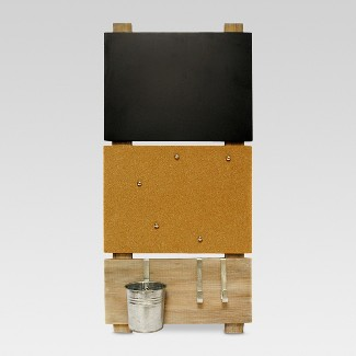 Bulletin Board with Chalkboard and Hooks - Threshold™