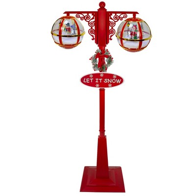 """Northlight 74"""" Lighted Red and Gold Musical Double Christmas Street Lamp"""