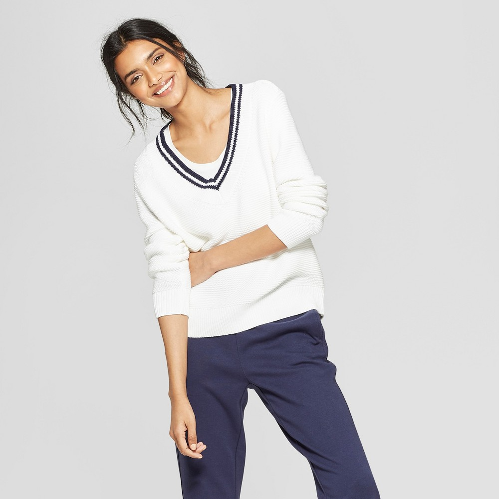 Women's V-Neck Pullover Tennis Sweater - A New Day White XS