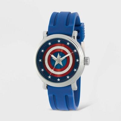 Men's Marvel Classic Captain America Vintage Rubber Strap Watch - Black