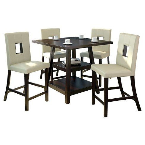 Bistro 5 Piece Counter Height Cappuccino Dining Set - White Leatherette - CorLiving - image 1 of 4