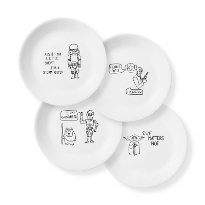 "Corelle Star Wars 8.5"" 4pk Glass Lunch Plates"