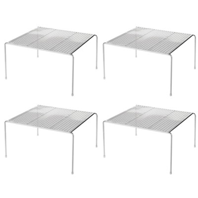 mDesign Metal Square Closet Organizer Storage Shelf, 4 Pack