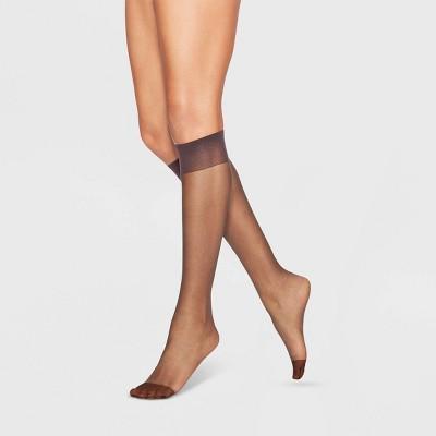 L'eggs Everyday Women's Reinforced Toe 10 Bonus Pack Knee Highs - Suntan One Size