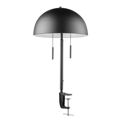 "18"" 2-Light Luna Clamp Arm Table Lamp with Mushroom Shade Matte Black - Globe Electric"