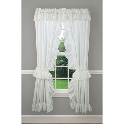 Ellis Curtain 2-Piece Ruffled Priscilla Window Curtain Panel Pair with ties in Natural Color