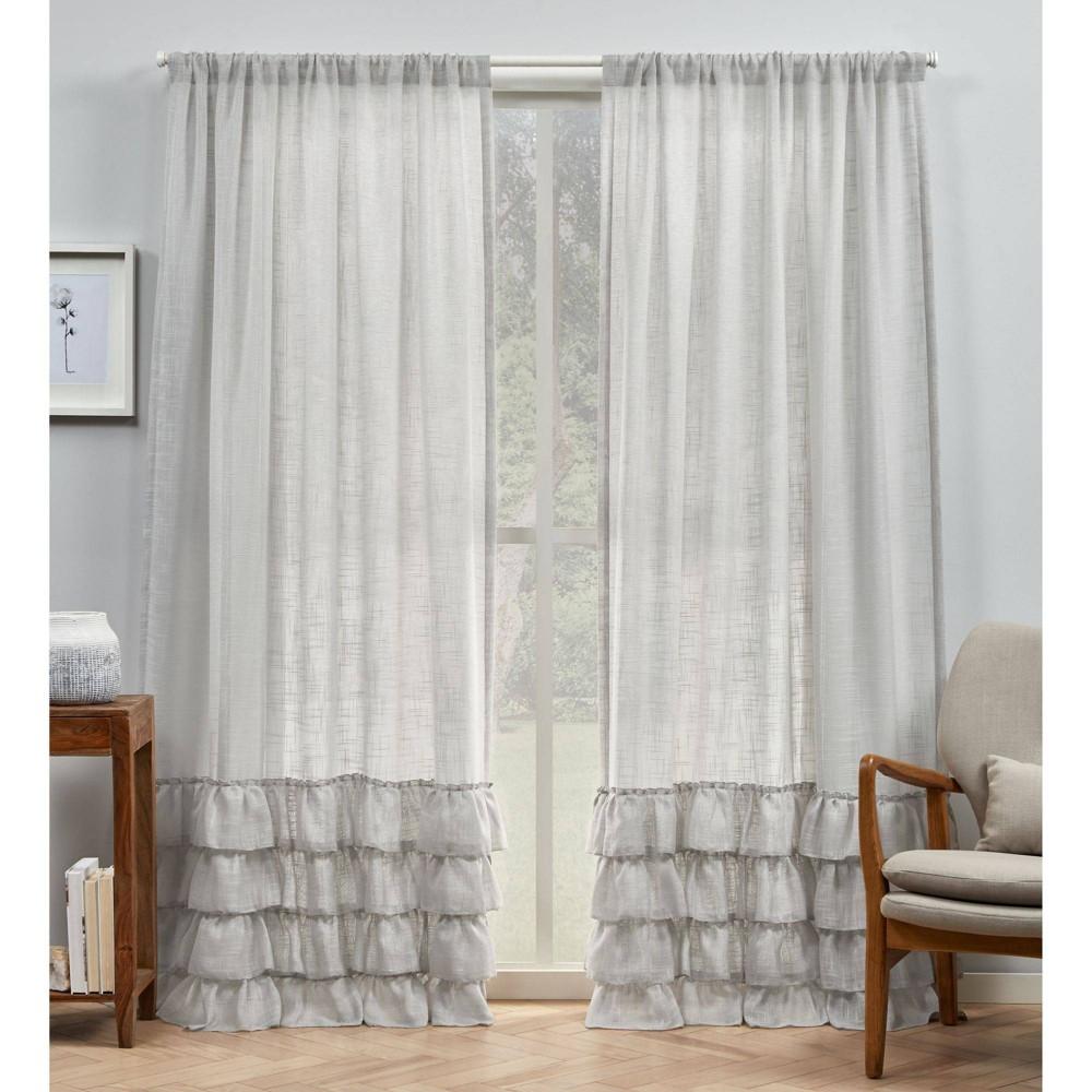 "Set of 2 96""x54"" Jacinta Bottom Ruffle Sheer Rod Pocket Curtain Panel Gray - Exclusive Home"