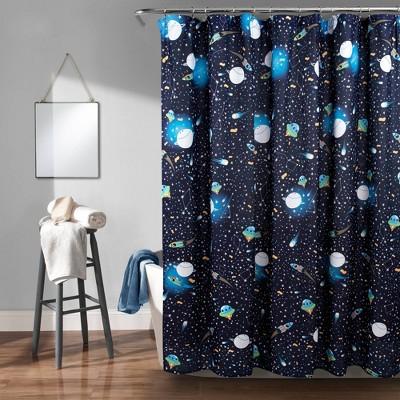 "72""x72"" Universe Shower Curtain Navy - Lush Décor"