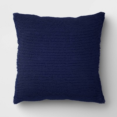 Oversized Square Ribbed Plush Pillow Navy - Room Essentials™
