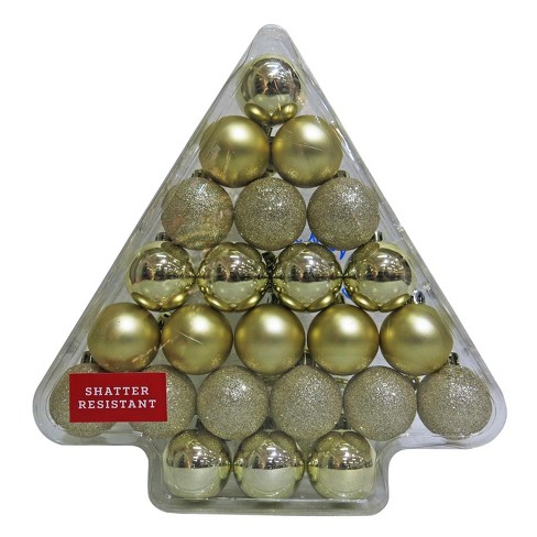 24ct 40mm Champagne Christmas Ornament Set - Wondershop™ - image 1 of 1