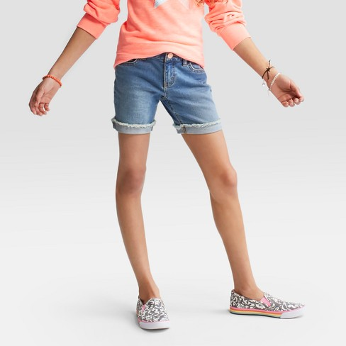 Girls' Jean Shorts - Cat & Jack™ Bluebell - image 1 of 5