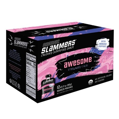 Organic Slammers Superfood Snack Awesome Fruit & Veggie Pouches - 3.17oz 12pk
