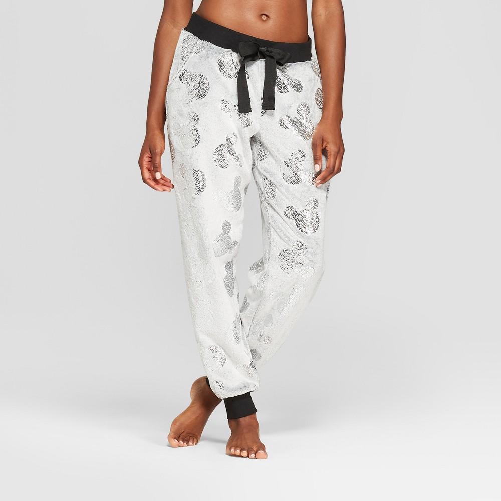 Women's Disney Mickey Mouse Holiday Super Soft Plush Pajama Pants - Gray M