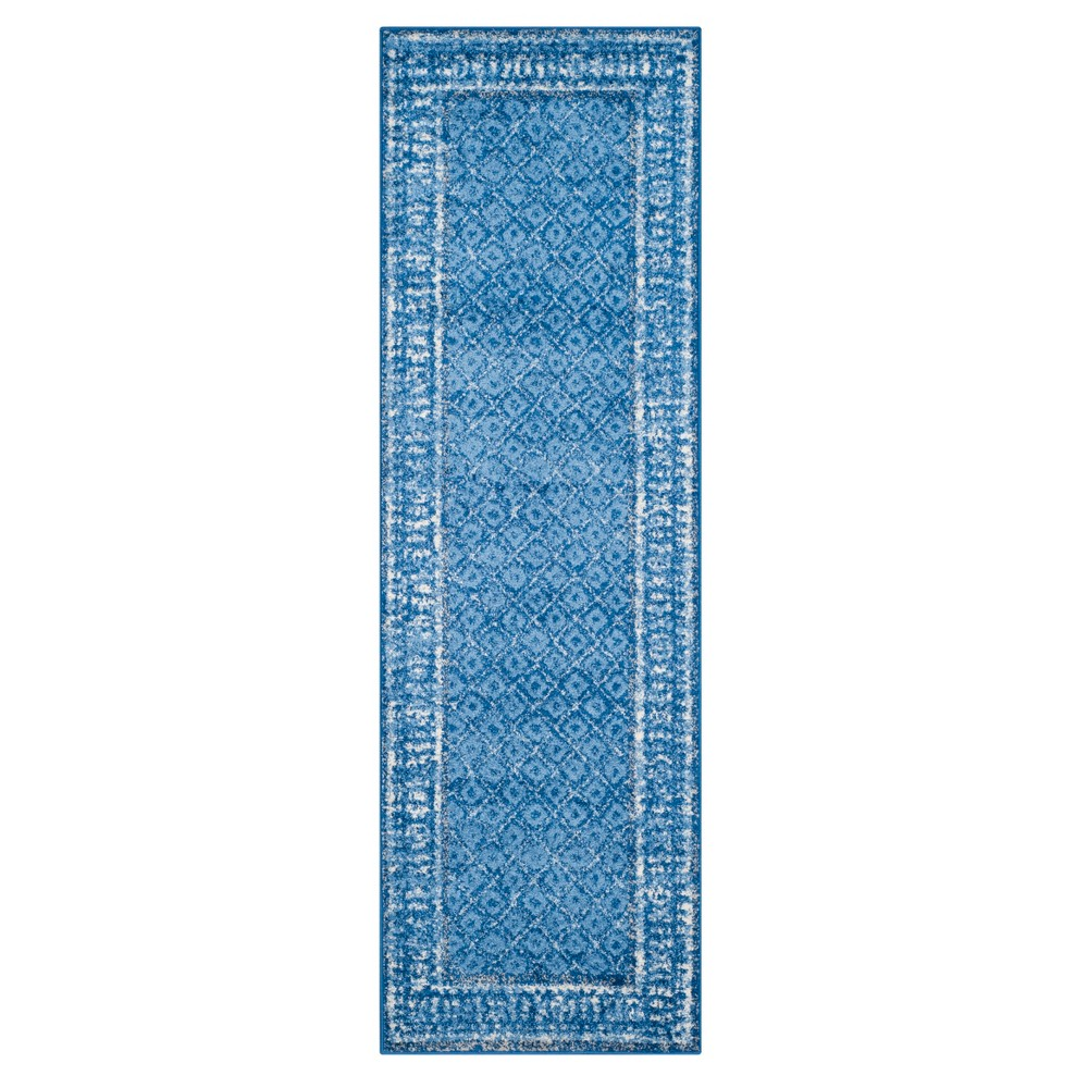 Light Blue/Dark Blue Geometric Loomed Runner 2'6X12' - Safavieh