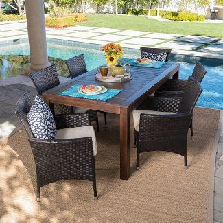 Lincoln 7pc Acacia Wood & Wicker Patio Dining Set - Dark Brown - Christopher Knight Home