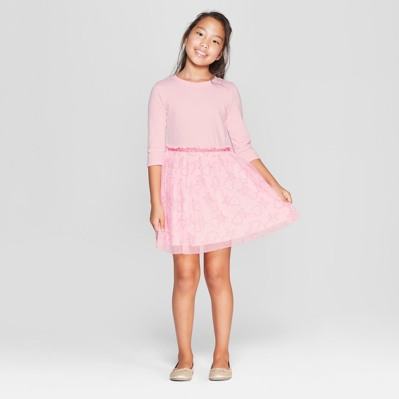 Girls' XO Valentine's Day Dress - Cat & Jack™ Pink - image 1 of 3