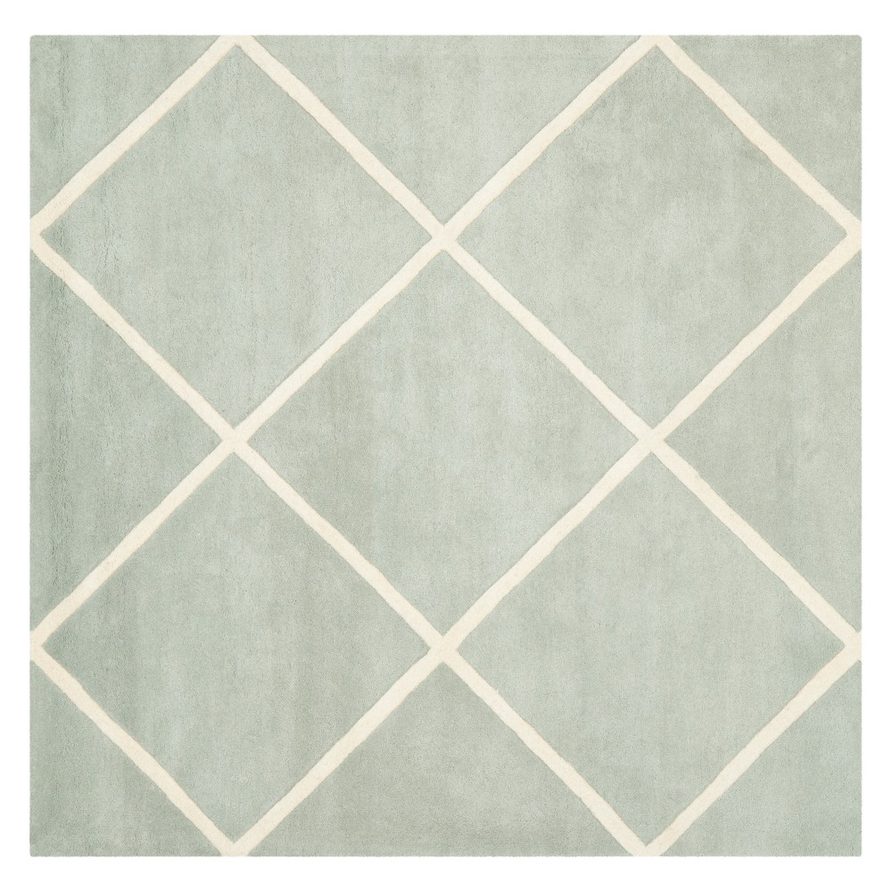 7'X7' Geometric Tufted Square Area Rug Gray/Ivory - Safavieh