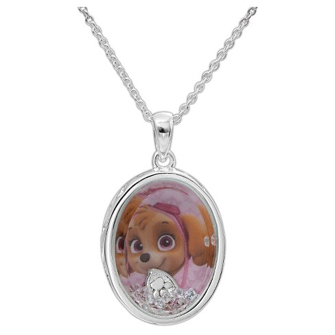 "Kid's Nickelodeon Silver Plated Paw Patrol Skye ""This pup's gotta fly!"" Floating CZ Shaker Pendant - image 1 of 2"